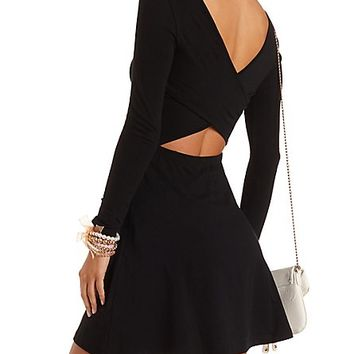Long Sleeve Skater Dress with Cut-Out by Charlotte Russe - Black