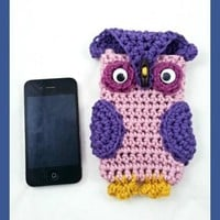 Pink and Purple Owl Android or Iphone Case, Pink Cell Phone Case, Purple Android Case