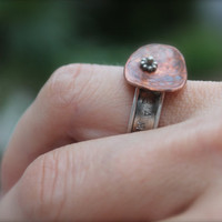 Sterling Silver/Copper Ring. small flower design. abstract ring. Hammered copper. hand stamped. words.