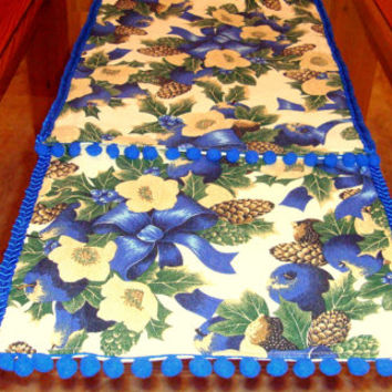 Blue lined 72 table runner – Floral Christmas bow runner