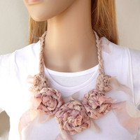 Dusty Pink Flower Fiber Necklace Silk Chiffon & Linen Shabby Chic Fashion Accessory Unique Fabric Crochet Necklace