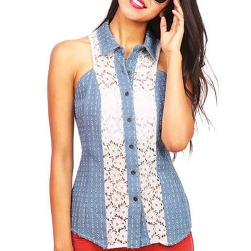 Pierce+Lace+Denim+Shirt