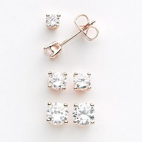 24k Rose Gold Plate Cubic Zirconia Stud Earring Set
