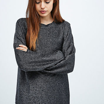 Light Before Dark Lurex Sweatshirt in Gunmetal - Urban Outfitters
