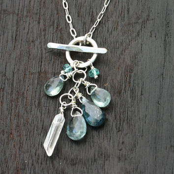 Kyanite, moss aquamarine, apatite and crystal mixed gemstone necklace with sterling silver front fastening toggle clasp and chain. Handmade