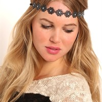 Headband with Metal Flowers and Stretch Back