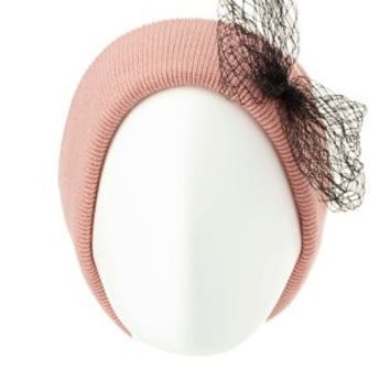 Fishnet Bow Boyfriend Beanie by Charlotte Russe - Blush