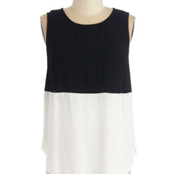 ModCloth Colorblocking Mid-length Sleeveless Opposites Attach Top