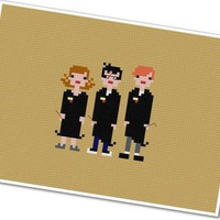 Pixel People - Harry, Ron, and Hermione - PDF Cross-stitch PATTERN