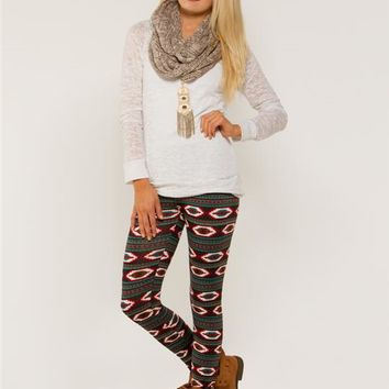 Aztec Fleece Lined Leggings