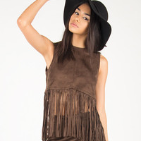 Western Fringed Sleeveless Crop Top