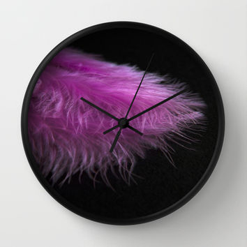 Feather in pink Wall Clock by VanessaGF | Society6