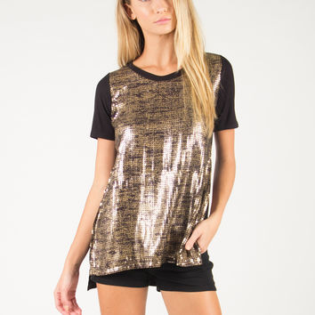 Side Slit Sparkly Short Sleeve Top - Antique Gold /