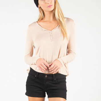Long Sleeve Henley Top - Peach - Peach /