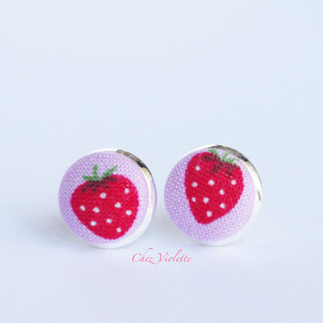 Strawberry stud earrings, fabric post, Tiny earrings stud - small earring studs