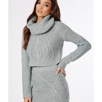Missguided - Aliya Roll Neck Cable Knit Crop Jumper Grey