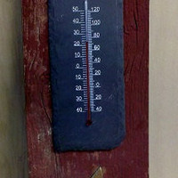 Rustic Slate Temperature Gauge with Reclaimed Barn Wood indoor outdoor