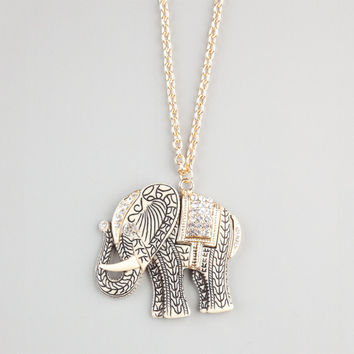 FULL TILT Etched Rhinestone Elephant Necklace 241917621 | Necklaces