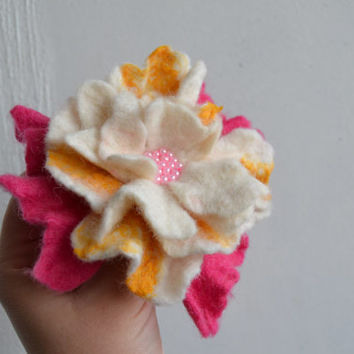 Felted Flower Pin White Pink and Yellow Wool with Pink Beads - Winter Coat Accessory - Handmade Felted Brooch - Corsage Decoration