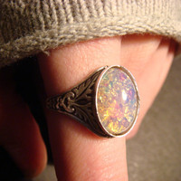 Victorian Style Fire Opal Antique Silver Ring- Adjustable (472)