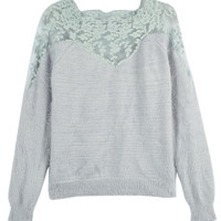 Blue Lace Panel Mohair Knitted Jumper