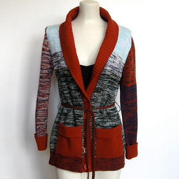 Vintage 1970s Bohemian / Multi-colored Space Dyed Cardigan Sweater