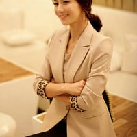 Slim Long Sleeve Solid Color Suit Beige$45.00