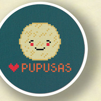 I Heart Pupusas. Salvadoran Food Cross Stitch PDF Pattern
