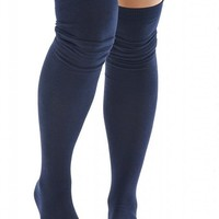 Sexy Legs Thigh High Socks Navy Blue Over The Knee 70% Cotton Womens One Size