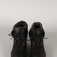 Sweater Collar Lace Up Ankle Bootie