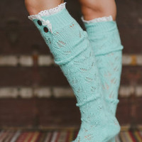 Lace Boot Socks, Knee Highs, Stocking Stuffer, Best Seller, Knee Socks, Fashion Accessories, Cozy Socks, Lace Trim Socks in Mint (BS-04F14)
