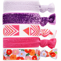 Embellished Ponytail Holders, Elastic Hair Accessories, Glitter Hair Ties, Set of 5 Hair Ties in Purple Aztec (HA-3932)
