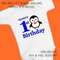 Penguin 1st Birthday. Personalized T Shirt Raglan Onesuit Romper. One 1st, 2nd, 3rd, 4th, 5th, 6th Happy Birthday Fox Deer Owl Monkey (1828B)