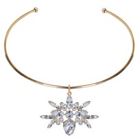 Crystal Pendant Choker - Diamond Bib Statement Necklace - Humblechic.com