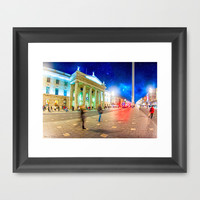 At Night On O'Connell Street in Dublin Ireland Framed Art Print by Mark E Tisdale