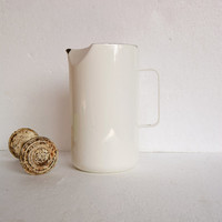Vintage White Enamel Pitcher - Kaj Franck Mid Century Modern Pitcher -  Made in Finland