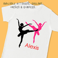 Ballet. Silhouettes. Personalized T Shirt, Raglan, Onesuit, or Romper. Ballerina Dance Dancer Birthday Party Theme & Favor (1827)