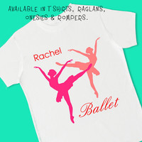 Ballet. Silhouettes. Personalized T Shirt, Raglan, Onesuit, or Romper. Ballerina Dance Dancer Birthday Party Theme & Favor (1826)