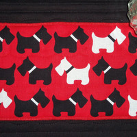 SCOTTIES  IN  STEP  Quilted Mug Rug, Snack Mat, Place Mat, Coaster, Gift, Housewares