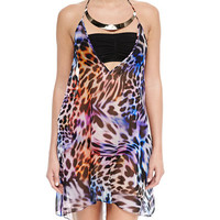 Cheetah-Print Halter Coverup with Hardware