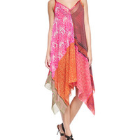 Patchwork-Print Asymmetric Coverup Dress