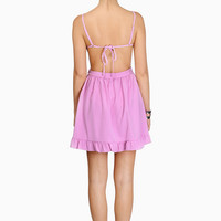Wild Hearts Dress - Adjustable straps sleeveless open back dress with ruffled hems
