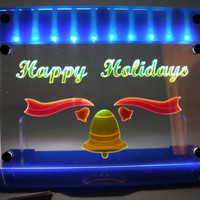 Holiday Bell Happy Holidays  Light LED lit  decoration ornamental light art panel  with stand