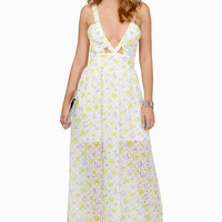 Flower Power Maxi Dress - yellow and white sleeveless floral print maxi dress