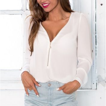 Zip Me Up top in white | SHOWPO Fashion Online Shopping