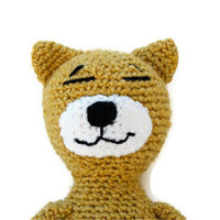 Crochet Amigurumi Cat  Yellow and White Tabby