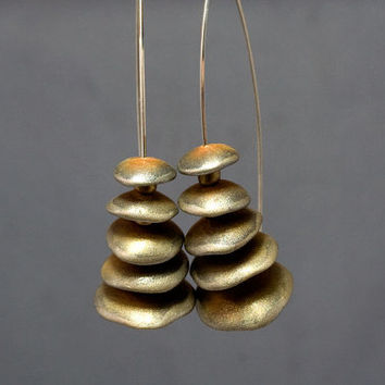 Golden Brown Earrings, Statement  Art Jewelry,  Contemporary polymer Jewelry by JagnaB