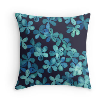 Hand Painted Floral Pattern in Teal & Navy Blue