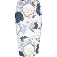 River Island Womens Blue rose print pencil skirt