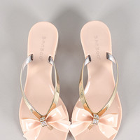 Jelly Rhinestone Bow Thong Sandal